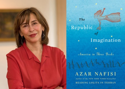 Azar Nafisi posing and her new book