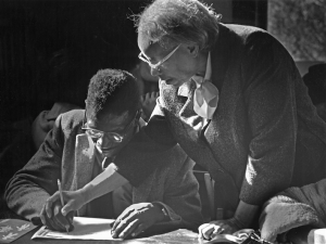 Septima Clark helps a prospective voter learn to read & write. Bob Fitch Photography Archive. © Stanford University Libraries, Department of Special Collection