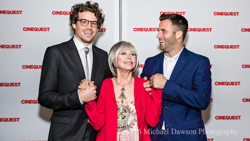 Left to Right, actors Joel Kelly Dauten and Rita Moreno, and writer/director/actor Steve Goldbloom at Cinequest world premiere. Photo by Michael Dawson