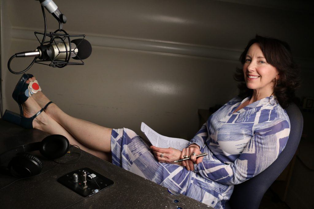 Ruth Copland relaxing in the studio